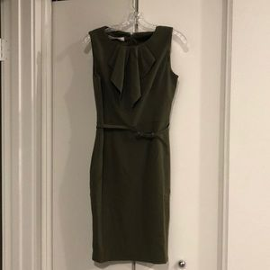 Sleeveless, belted, army green Evan Picone Dress